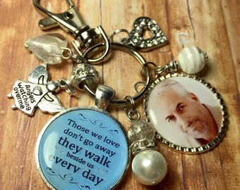 memory keyring, memorial keychain, bereavement gift, those we love don't go away, memory keyring keepsake