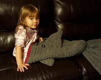 Crocheted Shark Blanket, chunky yarn, adult sizes