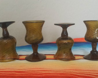 Hand Blown Mexican Tequila Glasses, Amber Swirl