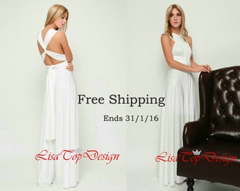 Ivory infinity dress, Long convertible dress, bridesmaid dresses, convetible wrap dress