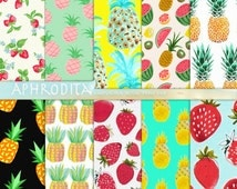 Assorted Fruits Digital Papers  Pineapple Pattern Download  STRAWBERRY Pattern Digital Scrapbook  Pineapple Patterns Scrapbook Digital A-45