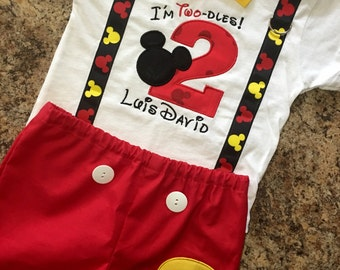 """Birthday Mickey Mouse """"Im Twodles"""" Shirt and Shorts outfit with suspenders, bow tie, name, and number on shirt - Mickey and number on shorts"""