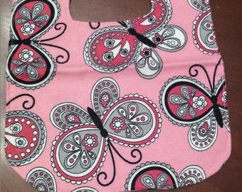 Baby Girl Reversible Butterfly Flannel Bib