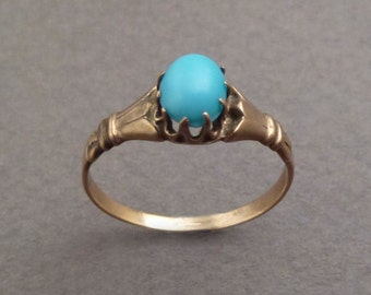 10K gold Persian turquoise ring size-6.5