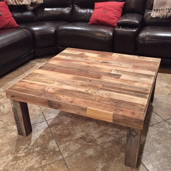 square reclaimed recycled wood pallet coffee table living room