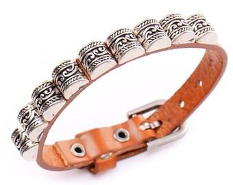 Handcrafted Leather Bracelet Leather bracelet  punk vintage bracelet real leather bracelet  cuff bracelet charm bracelet customization gift