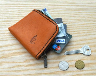 Zip Wallet in Horween Natural Essex leather   Slim and Mini