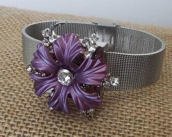 Vintage Repurposed Purple Enamel Flower with Clear Rhinestone Brooch Mesh Watch Band Bracelet