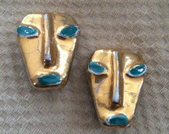 vintage mask clip on earrings