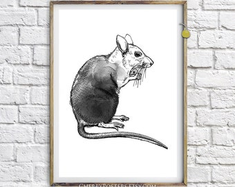 Radioactive Rat - Watercolor Print - Home decor wall art, rat painting, rat watercolor, rat print, rat poster, mouse illustration, rat art.