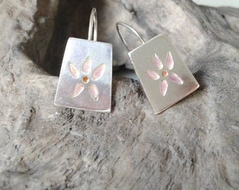 Exotic earrings in silver and enamel