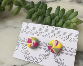 Multi-colored polymer clay earrings