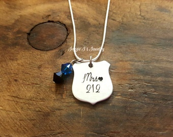 Police Wife Necklace, Proud Police Officers Wife Engraved Necklace, Police Badge Necklace, Gift For Her, Leo Wife, Mrs Police Officer, Gifts