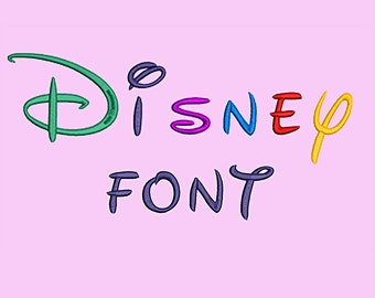 Disney Embroidery Font Design Alphabet Machine 26 uppercase, 26 lowercase letters, 10 numbers 4 SIZES Digitized Font INSTANT DOWNLOAD 027