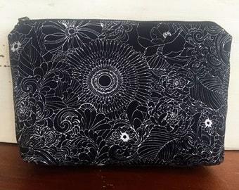Black Floral Waxed Linen Pouch | Satchel, Clutch