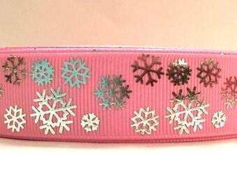 Snowflake Ribbon, Pink Snowflake ribbon, Pink Christmas Ribbon, Pink Silver ribbon, Silver snowflake Ribbon, Silver Christmas ribbon