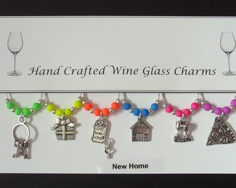 New Home Set of Wine Glass Charms