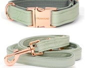 Dog collar MINT with rose gold colored hardware - handmade - pastel