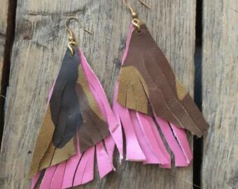 Pink Leather Fringe Earrings