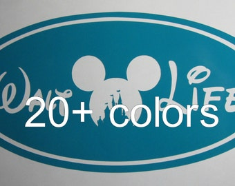 Walt Life Euro Oval Mickey Head Castle Vinyl Decal / Sticker *Available in 24 Colors*