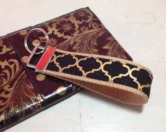 Key Fob - Key Chain Wristlet {Gold & Black Design}