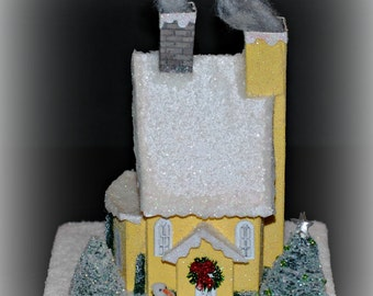 Glitter House, Handmade Yellow Glittered House, Christmas Village House, Putz Style House, Christmas Village Paper House, XMAS Decoration