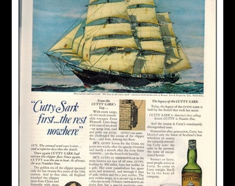 "Vintage Print Ad may 1969 : Cutty Sark Scotch Wisky Sailing Ship Wall Art Decor 8.5"" x 11"" Advertisement"