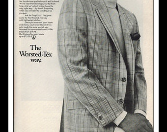 """Vintage Print Ad May 1969 : Fashion Worsted-Tex Suit Wall Art Decor 8.5"""" x 11"""" Advertisement"""