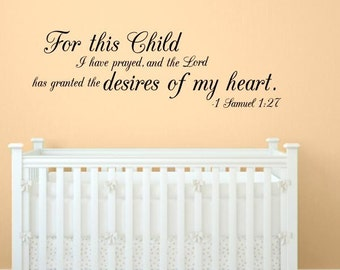 1 Samuel 1:27 Child Quote Wall Decal