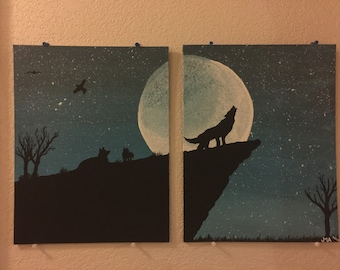 Wolf two panel painting