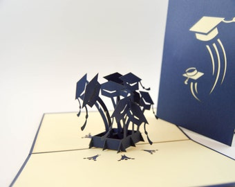 Graduation Hat Pop Up Card - 3D Handmade Card - Pop Up Congratulation Card - Graduation Card - Encouragement Card - Pop Up Graduation Hat