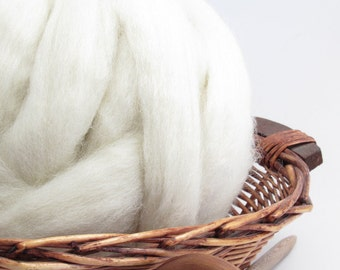 New Zealand White Perendale Wool Top Roving - Undyed Natural Spinning & Felting Fiber / 1oz