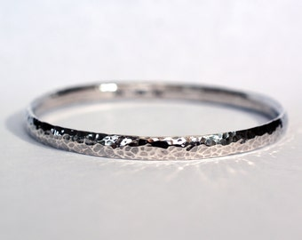 5.8mm Heavy Hammered Sterling Bangle