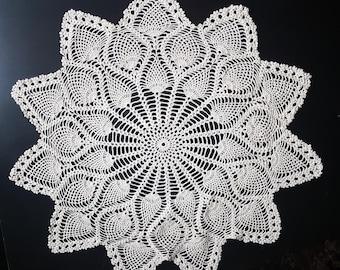 Vintage, Handmade ,Crochet Lace Doily,Crochet Lace Napkin, Lace Doily, Vintage Decor,Vintage doily,white, round