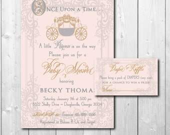 Vintage Princess Baby Shower Invitation with matching Diaper Raffle Ticket/DIGITAL FILES/printable/wording can be changed