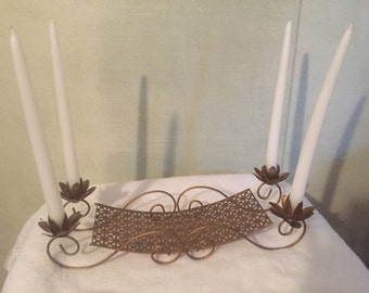 Mid Century Pierced Metal Candle holder/Bowl SALE 8.00