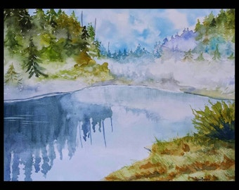 Sage Hen Idaho On A Foggy Morning Original Watercolor
