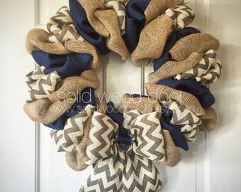 "22"" Fall Wreath, Cowboys Football Burlap Wreath, Texas Football VERY FULL, blue burlap college football wreath, Football Wreath, Star Wreath"