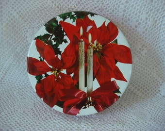 Vintage Christmas Cookie Tin, 1960s Poinsettia & Candle Design, Small Treat Tin, Perfect for Holiday Cookies ~
