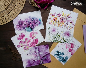pink flowers set of postcards\ watercolor print\ Postcrossing\pink