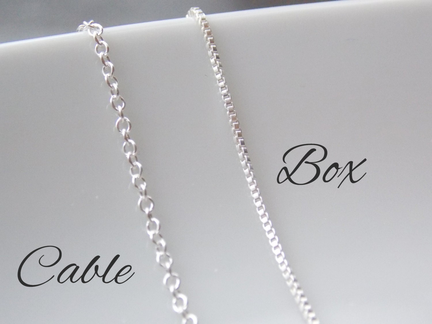 Sterling Silver Chain Silver Box Chain Cable Chain Jewelry