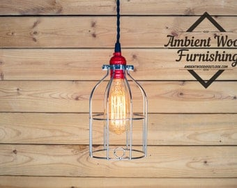 Polish nickel Cage Pendant Light red socket Edison bare bulb pendant light industrial style