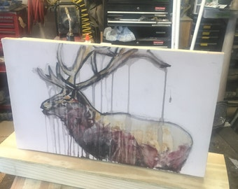 hand painted Watercolor elk painting with hidden compartment
