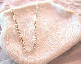 Vintage Handbag - Beaded Purse - Wedding Purse - White Beads - Silver Chain - Satin Lining - Evening Bag - Beaded Clutch - 1950s