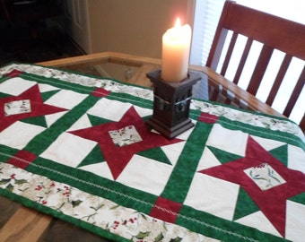 Christmas Stars Quilted Table Runner