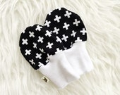 Baby Scratch Mittens - Black and White Swiss Cross - Woven