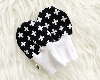 SALE - Baby Scratch Mittens - Black and White Swiss Cross - Woven