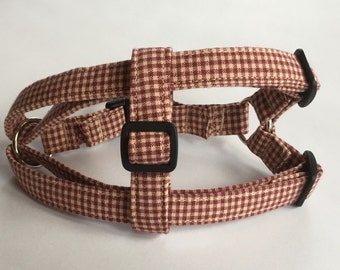 Adjustable Red and Tan Plaid Print Step-In Dog Harness