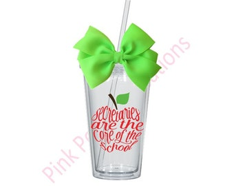 Secretary Cup, Secretary Tumbler, School Secretary, Secretary Gifts, Secretary, Apple Tumbler, School Tumbler, Tumbler Cup, Tumbler Gift