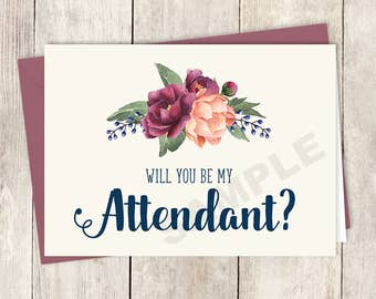Will You Be My Attendant Card DIY Printable / Burgundy Peony Berry Bouquet, Peach Blush Pink Ranunculus, Fall Wedding ▷ Instant Download PDF